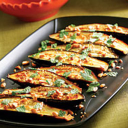 Roasted Eggplant with Chiles, Peanuts and Mint