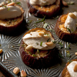 Roasted Eggplant with Goat cheese, tahini and pine nuts