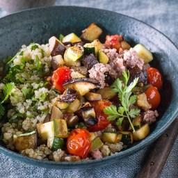 Roasted Eggplant, Zucchini and Pork Bowls
