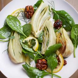 Roasted Fennel and Lemon Salad With Turmeric Walnuts