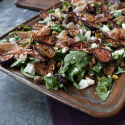 Roasted Fig Salad with Goat Cheese, Prosciutto and Arugula
