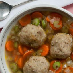 Roasted Garlic Matzoh Ball Soup