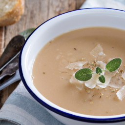 Roasted Garlic Soup with Parmesan Cheese