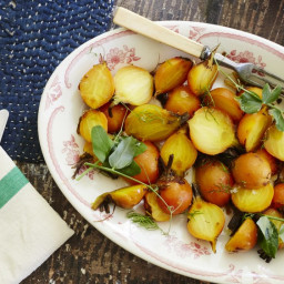 Roasted Golden Beet Salad with Pea Shoots and Fennel Fronds