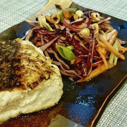 Roasted Hake with Red Cabbage Coleslaw
