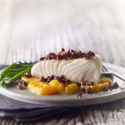 Roasted Halibut with Tangerine and Olive Tapenade