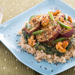 Roasted Japanese Sweet Potatoes with Miso-Dressed Spinach and Candied Cashe