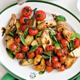 Roasted kipfler potato and cherry tomato salad