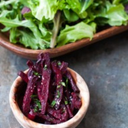 roasted matchstick beets with coconut oil