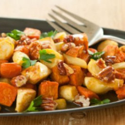 Roasted Parsnips and Sweet Potatoes with Honey-Pecan Drizzle