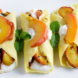 Roasted Peach and Honey Ricotta Crepes