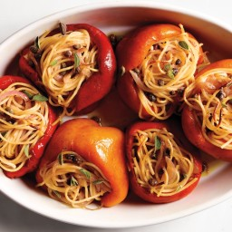 Roasted Peppers with Spaghetti Stuffing