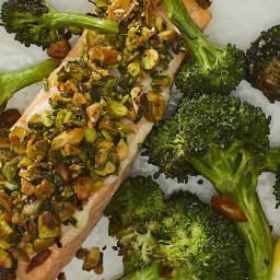 Roasted Pistachio-Crusted Salmon with Broccoli