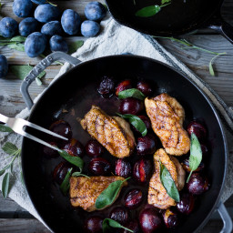 Roasted Plum Duck with Cider Maple Glaze