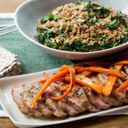 Roasted Pork and Spinach-Farro Saladwith Thyme-Roasted Carrots