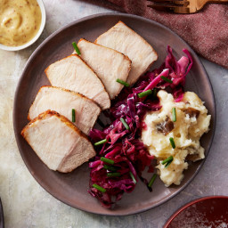 Roasted Pork & Cheesy Mashed Potato with Cabbage, Apple, & Creamy M