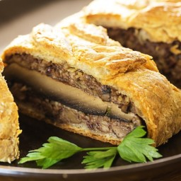 Roasted Portobello Mushroom, Pecan and Chestnut Wellington