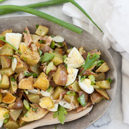 Roasted Potato Salad with Bacon Dressing