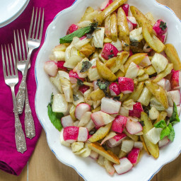 Roasted Potatoes, Fennel and Radishes with Lemon Brown Butter Sauce