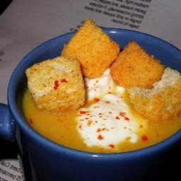 Roasted Pumpkin Soup with Roasted Garlic and Black Pepper Crouton