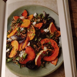 Roasted pumpkin with lentils & blue cheese