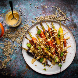 Roasted Rainbow Carrots with Toasted Sunflower