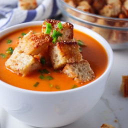 Roasted Red Pepper Gouda Soup with Cheesy Croutons