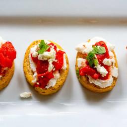 Roasted Red Pepper Ricotta Crostini