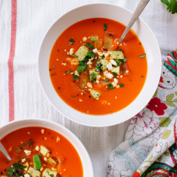 Roasted Red Pepper Tortilla Soup