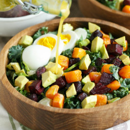 Roasted Root Vegetable Salad with Dijon Shallot Dressing
