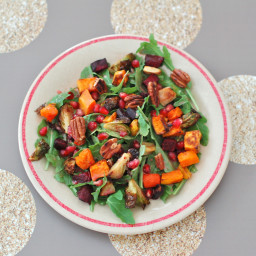 Roasted Root Vegetable Salad with Pomegranate Ginger Dressing
