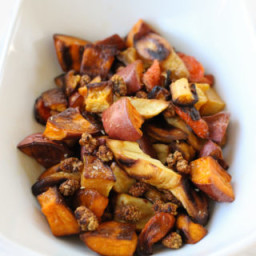 Roasted Root Vegetables with Toasted Mulberries and Horseradish Dressing
