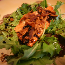 Roasted Salmon with Crumbled Bacon and Arugula