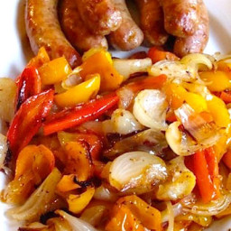 Roasted Sausages with Peppers and Onions