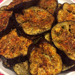 Roasted Spicy Garlic Eggplant Slices
