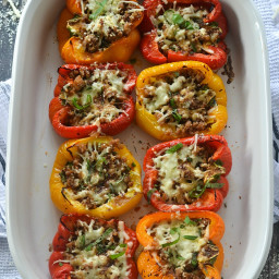 Roasted Stuffed Peppers with Italian Sausage and Balsamic Glaze