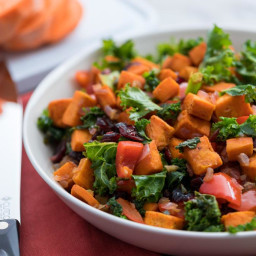 Roasted Sweet Potato and Kale Hash