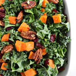 Roasted Sweet Potato and Kale Salad with Candied Pecans and Cranberries
