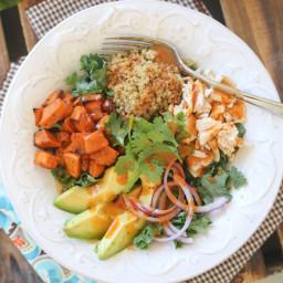Roasted Sweet Potato and Quinoa Chicken Salad