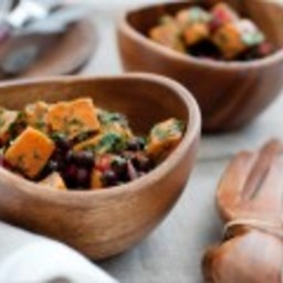 Roasted Sweet Potato Salad with Black Beans and Chili Dressing
