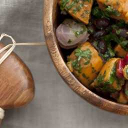 Roasted Sweet Potato Salad With Black Beans and Chile Dressing