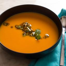 Roasted Sweet Potato Soup With Pistachio, Orange, and Mint Salsa Recipe