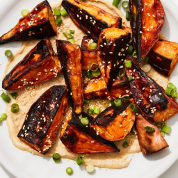 Roasted Sweet Potatoes with Miso-Tahini Sauce