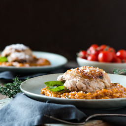 Roasted Tomato Risotto with Braised Chicken Thigh