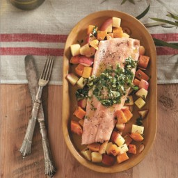 Roasted trout with Braeburn apples and pepita pesto