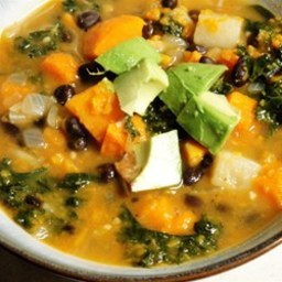 Roasted Vegetable and Kale Soup
