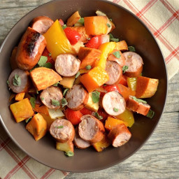 Roasted Vegetable, Apple, and Sausage Medley