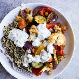 Roasted Vegetable Grain Bowl with Tzatziki