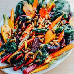 Roasted Vegetable Salad with Garlic Dressing + Toasted Pepitas
