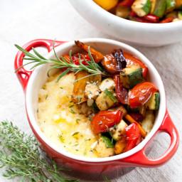 Roasted Vegetables and Parmesan Polenta